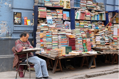 man selling second-hand books