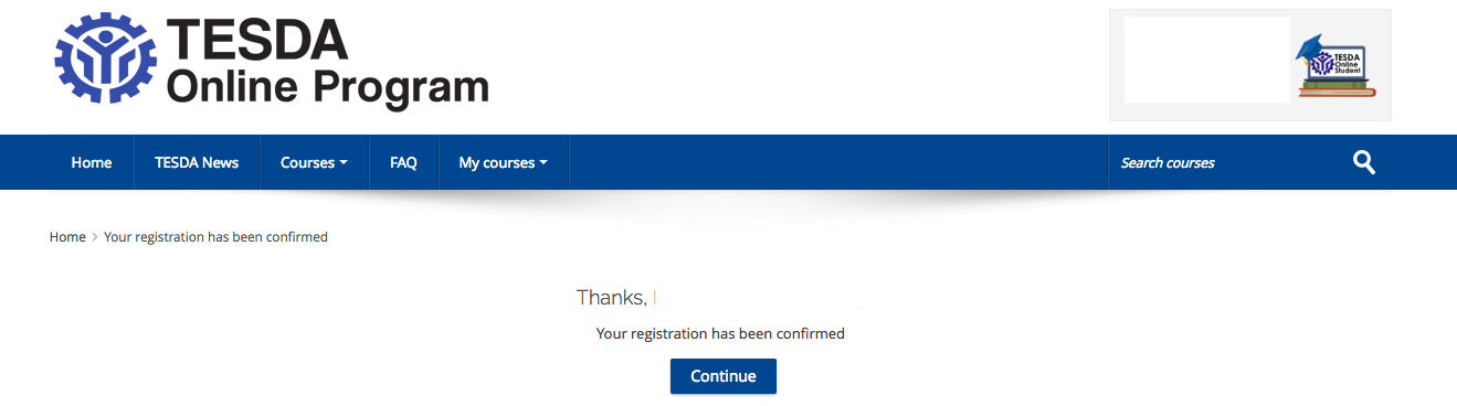 TESDA Registration Confirmed