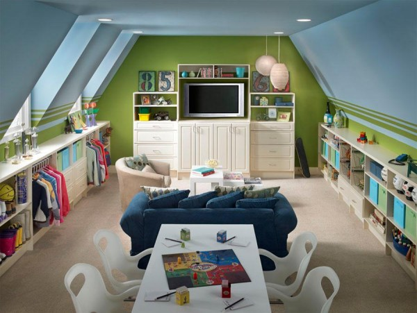 organized attic playroom