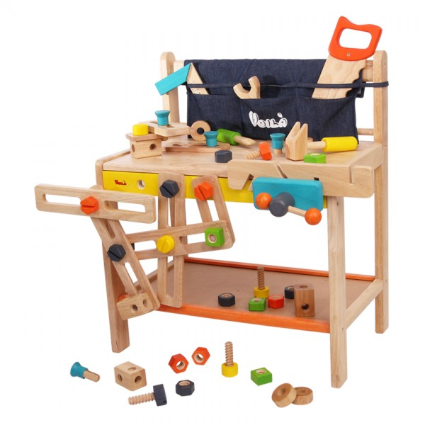 Wooden workbench toy with child-friendly materials